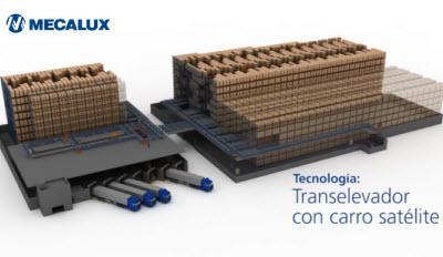 Transelevador con carro satélite: compactación automática de pallets