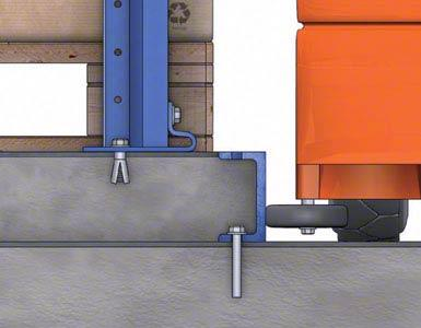 El espacio entre las guías de dos pasillos se rellena con hormigón, formando una isleta sobre la que se asientan los racks.