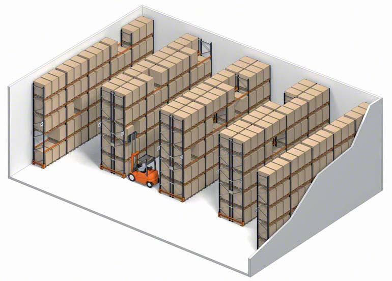 Sistema de almacenaje selectivo con acceso directo a cada pallet.
