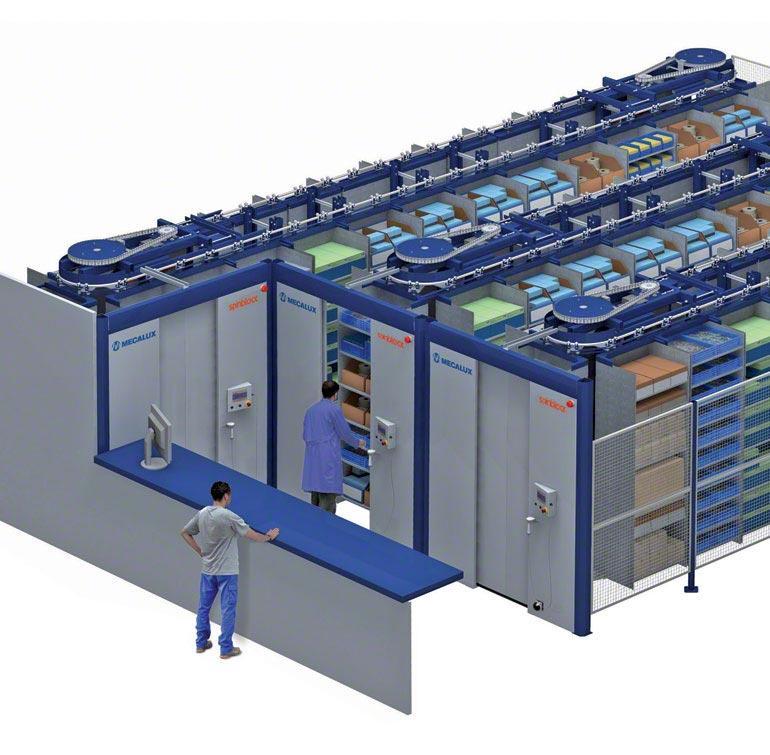 Sistema de almacenaje con carrusel horizontal.