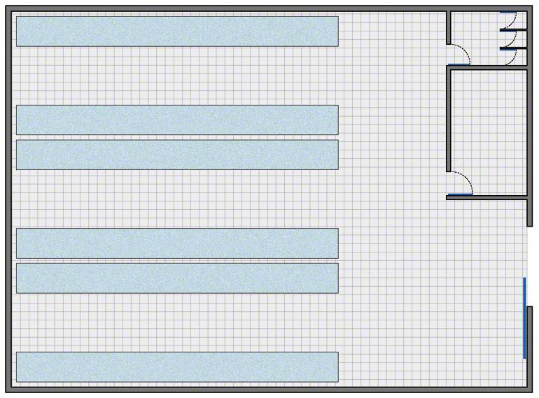 Bodega con la configuración más simple: zona de almacenaje, zona de gestión y vestuarios y aseos para el personal