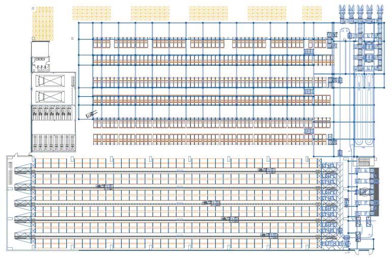 Ejemplo de distribución de los puestos de picking en una bodega automatizada.