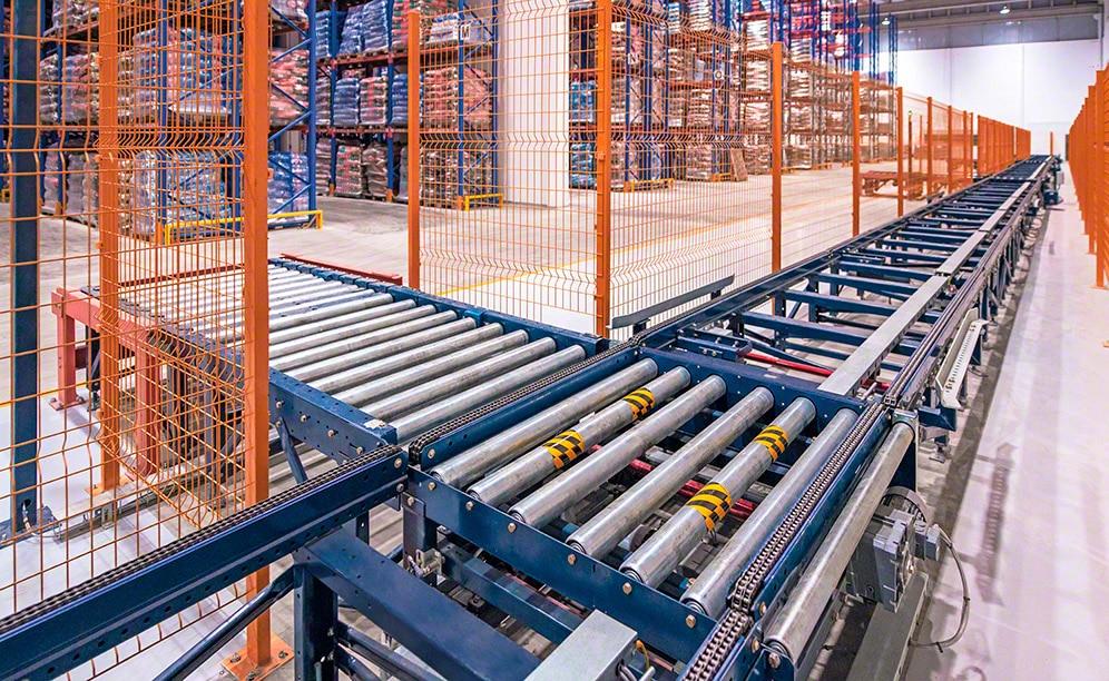Elevado rendimiento y manipulación automatizada de la mercancía con transportadores para pallets