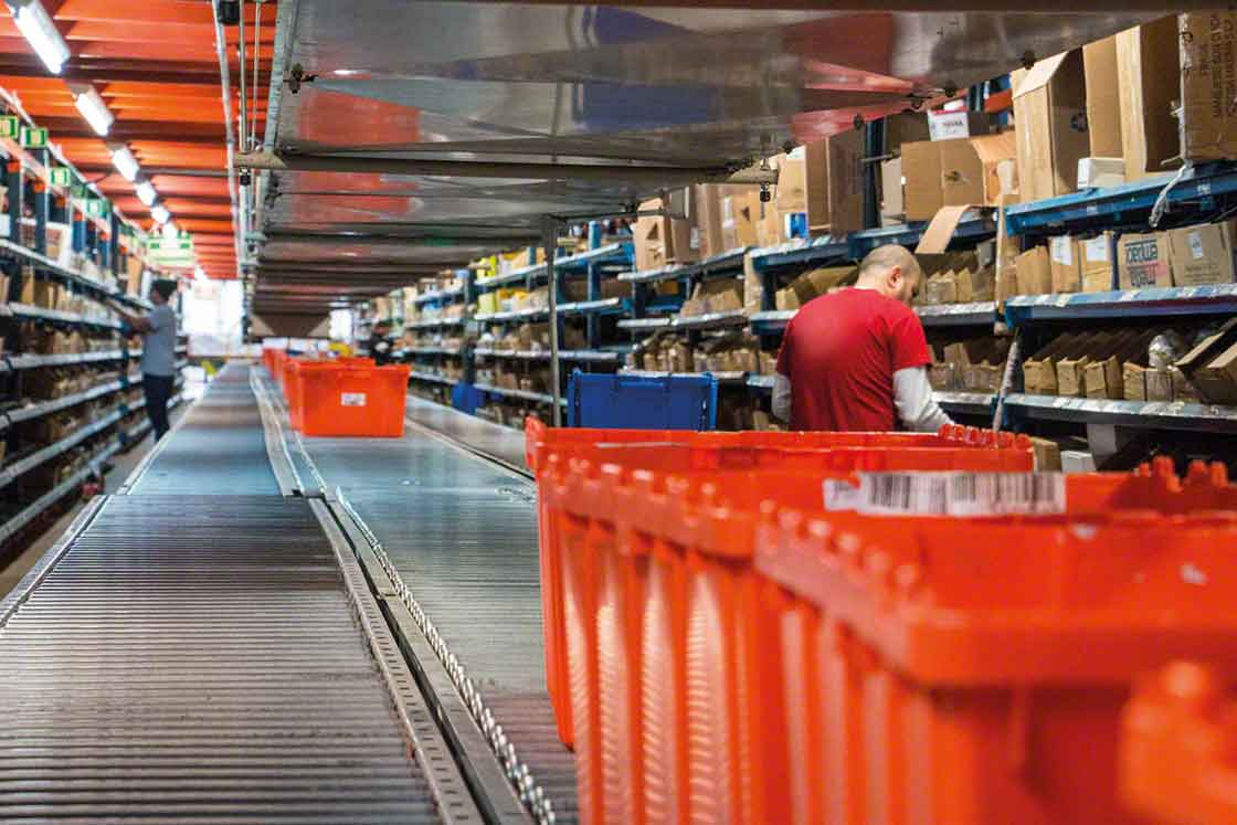Las bodegas de repuestos pueden utilizar rack para picking y transportadores para aquellas referencias con rotación más alta